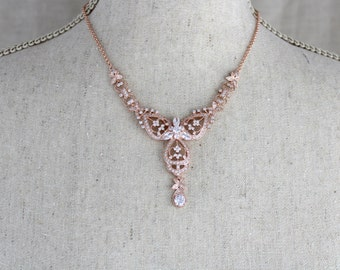 Rose Gold necklace, Bridal necklace set, Wedding jewelry set, Rose Gold earrings, Crystal earrings, Art deco necklace, Rhinestone necklace