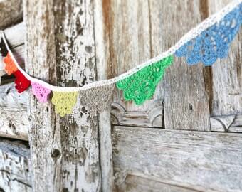 rainbow crocheted doily garland