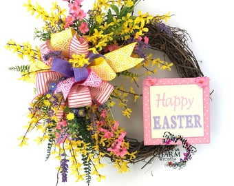 Happy Easter Wreath, Easter Wreath for Door, Spring Forsythia Wreath, Easter Decor, Yellow Wreath for Door, Forsythia Door Wreath