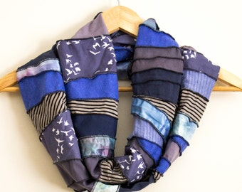 READY TO SHIP - Free Form Infinity Scarf - Eco Accessory - Made from Organic Fabrics - Blues and Birds - One of a Kind - Gift - Boho