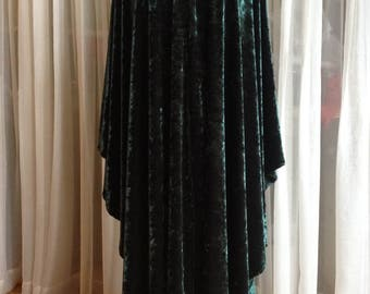 Forest green velvet cloak - full oval - YOUR LENGTH