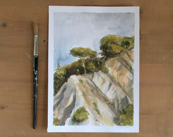mediterranean landscape watercolor painting