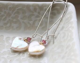 Freshwater Pearl Heart Earrings Sterling Silver, Valentine Earrings, Heart Earrings