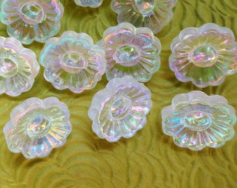 12 Flower Vintage Buttons - Iridescent Clear Plastic Made to Mimic Glass 1/2 inch 12mm for Baby Doll Clothes Sewing Knitting Jewelry