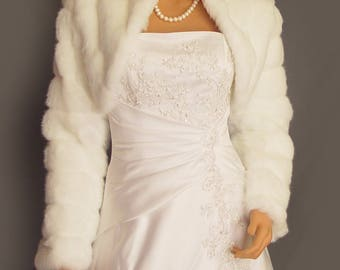 Faux fur bolero jacket in Mink with long sleeves and collar bridal coat, wedding shrug stole wrap FBA103 AVL in white and two other colors
