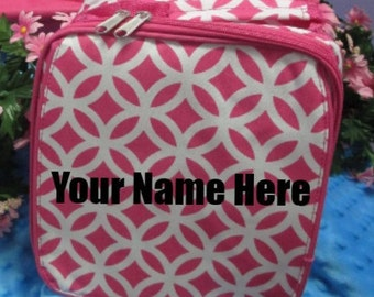 Personalized Hot Pink Interlocking Circle Lunch Box