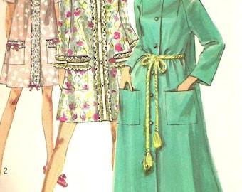 Vintage 60s Simplicity 8458 UNCUT Misses Raglan Sleeve Robe Sewing Pattern Size 12/14 Bust 34-36