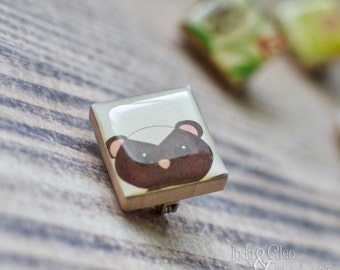 Skunk Face Scrabble Brooch, Woodland Animal Scrabble Tile Jewelry, Handmade Wood Tile Brooch, Tiny Scarf Pin, Lapel Pin, Animal Lover Gift