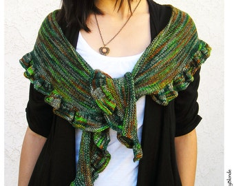 Ruffle Scarf Shawl Shawlette, Fichu Style, Hand Knit Merino Wool, 6 Color Options