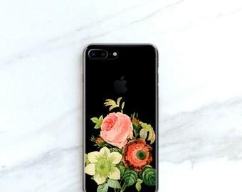Clear iPhone 7, Plus Case Floral iPhone 6S Case, Vintage Bouquet iPhone SE Case Clear With Design iPhone 6 Plus