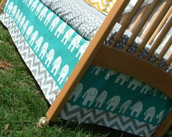 Teal and Gray Elephants Baby Bedding : Custom Crib Bedding, Turquoise, Aqua