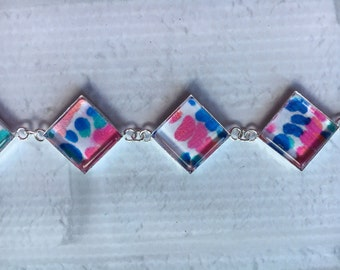 Preppy Lilly Pulitzer Inspired Green, Pink and White Metal Coverbutton Bracelet