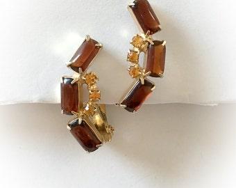 Vintage Brown and Orange Rhinestone Earrings Clip On
