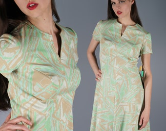 60s Dress Edith Flagg Dress 1960s Mod Dress Blue Light Green Beige Iridescent Gold New With Original Tags