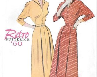 Butterick 6238 UNCUT 1950s Retro Dolman Sleeve Dress Sewing Pattern Sizes 8 10 12 Dolman Sleeves Pleated Skirt