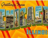 Vintage Chicago Postcard - Greetings from Chicago (Unused)