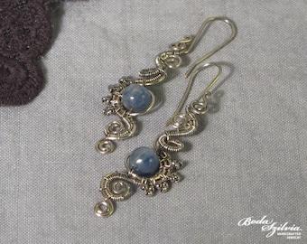 NAIAD silverKYANITE EARRINGS - wire wrapped earrings, silver dangle earrings, elegant jewelry, blue kyanite jewelry, elegant earrings