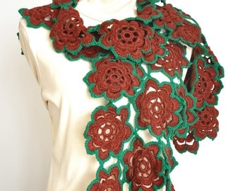 April - Crochet Flower Motif Scarf/Wrap