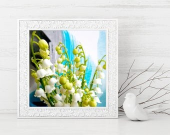 Lily of the Valley Photograph, Lily of the Valley Printable, Flowers and Art Print, Abstract Painting Background, Floral Photograph, Square