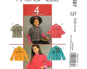 Girls Smock Jacket Pattern McCalls 5697 Unlined Button Front Jacket Collar Ruffle Sleeve Dressy Coat Girls Sewing Pattern Size 3 4 5 6 UNCUT