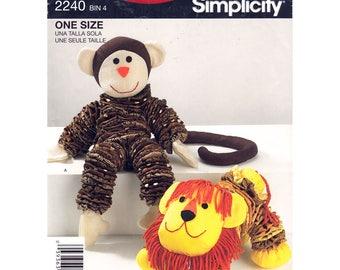 Retro Toy Pattern Stuffed Toy Animal, Yo Yo Monkey Lion Simplicity 2440 Plush Toy Sewing Pattern UNCUT