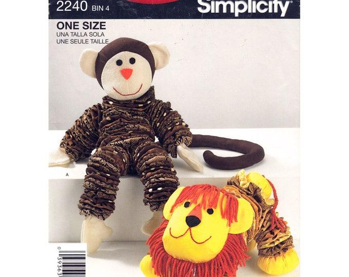 Simplicity 2440 Retro Toy Sewing Pattern Stuffed Toy Animal, Yo Yo Monkey Lion Plush Toy