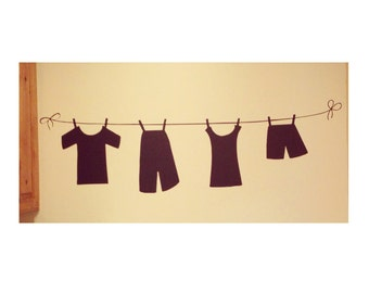 Clothes Line Vinyl Decal, Laundry Room Decal, Wall Decal, Laundry Room, Clothes Line, Home Decor