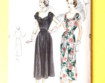 Factory Folded  Early 1950's Vogue 6776 One-Piece Dress. Four-piece skirt, Cluster Shirrings Vintage Sewing Pattern Bust 36