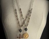 Vintage Brass and Hand Knotted Beaded Necklace