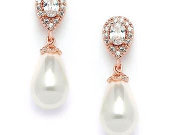 CZ Pear Bridal Earrings with Bold Soft Cream Pearl Drops Top Bridesmaid Jewelry  Earrings Wedding Earrings, prom earring