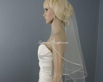 "Sweetness -Single Tier Satin Rattail Edge Wedding Veil Cascade 33"" Waist Length, Bridal Veil"