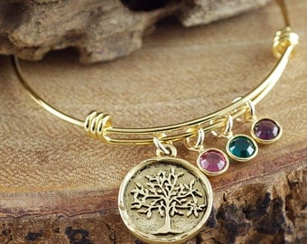 Goldl Family Tree Bangle Bracelet, Gold Tree of Life Bracelet, Gold Tree Bangle Bracelet, Birthstone Charm Bracelet, Tree of Life Bangle