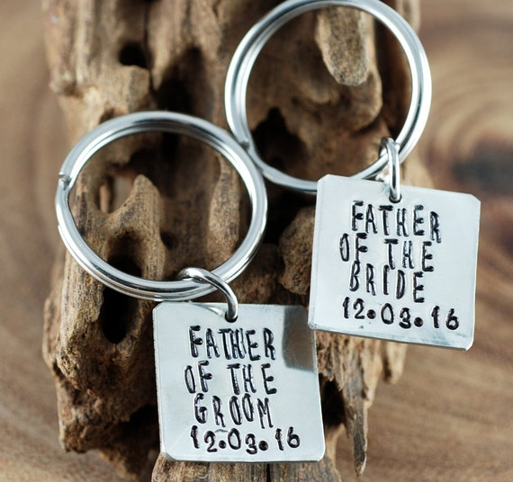 Father of the Bride and Groom Keychain Set | GIft for Dad | Personalized Keychains | Wedding Gift | Hand Stamped Keychains | Wedding Party