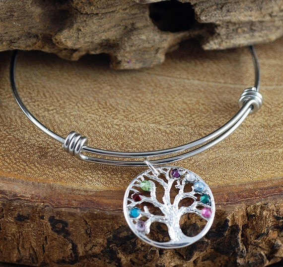Birthstone Family Tree Bracelet, Silver Tree of Life Bangle Bracelet, Birthstone Charm Bracelet, Grandma Tree of Life Bracelet