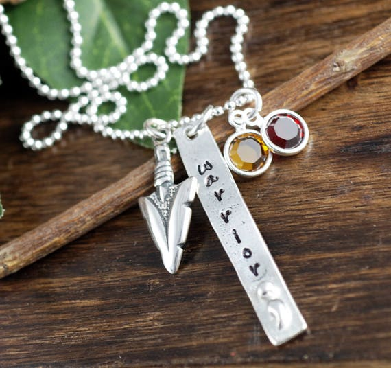 Warrior Necklace, Semi Colon Necklace, Hand Stamped Necklace, Arrowhead Jewelry, Awareness Necklace, Suicide Awareness, Personalized Jewelry
