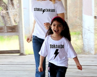 2 shirts funny TORNADO and STORM Chaser ™ mommy and me set ACDC shirt child mom boy girl baby S M L Xl 2T 3T 4T Xs Small Med Large Free S&H!