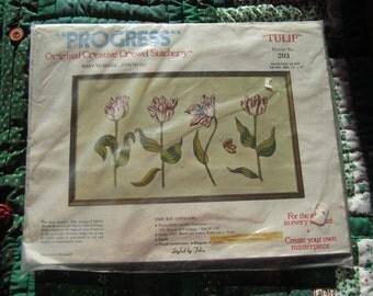 "Progress Crewel Stitchery Kit ""Tulip"" No 203 Sealed in Package"