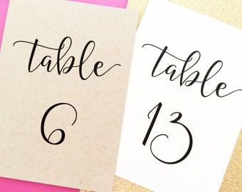 Table Numbers, Table Number Cards, Table Number Signs, Table Number Tents