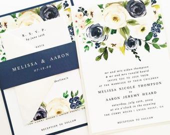 Navy Wedding Invitation, Wedding Invite, Navy and Cream Watercolor Floral Invitation | PRINTED SAMPLE