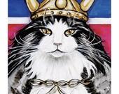 Cat Vking Nightshirt, Nowegian Forest Cat in Viking Helmet red white blue flag