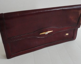 70s Burgundy Genuine Leather Clutch Purse Raphael Made in Italy