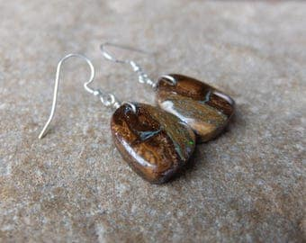 Boulder Opal earrings - earthy, natural, simple-  handmade in Australia by NaturesArtMelbourne - brown jewelry