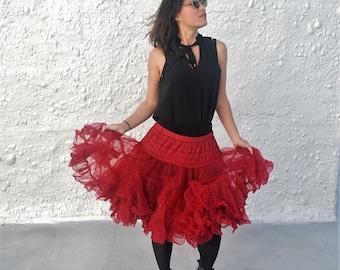 Vintage 1950s Red Crinoline Slip Mid Century Petticoat Lingerie L/XL