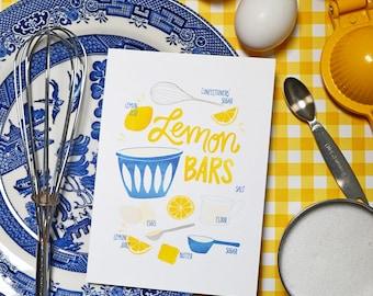 Lemon Bar, Recipe Illustration, Kitchen Decor, Kitchen Art, Wall Art, Bakery Art, Bakery Sign, Poster, Gallery Wall Art, Home Decor Baker