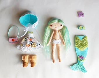 Handmade Felt Doll Set - Miniature Felt Dollhouse Doll with Mermaid Tail outfit, Dress, Hat, Boots, and Bag - Pocket Doll Gift For Girls