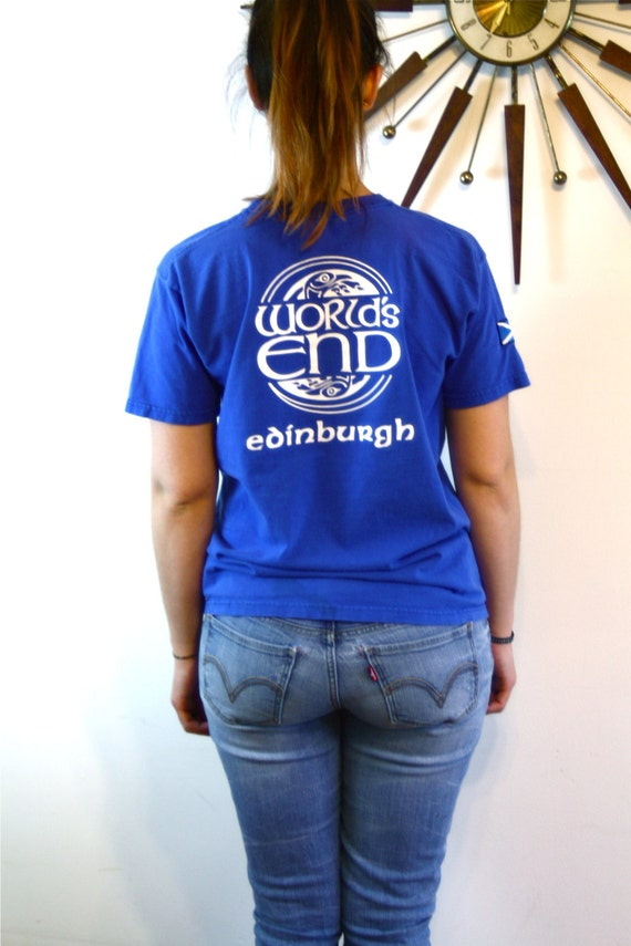 Vintage 80s WORLDS END T-Shirt Edinburgh Ireland Patch T-Shirt Bright Royal Blue Cotton Print Celtic Bird Circle Design Logo Tee Size S