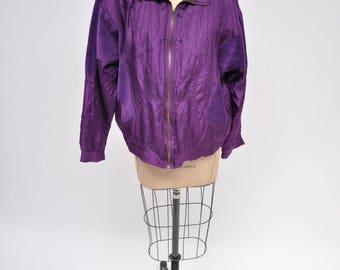 vintage jacket OVERSIZED retro SILK bomber PURPLE 80s 1980s large