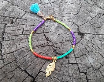 skinny bracelet, feather bracelet, small beaded bracelet, minimalist delicate jewelry bracelet cute