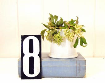 """Vintage French Enamel Number Eight Tag Large French Enamel Blue and White House Plaque 6"""" x 2.75"""""""