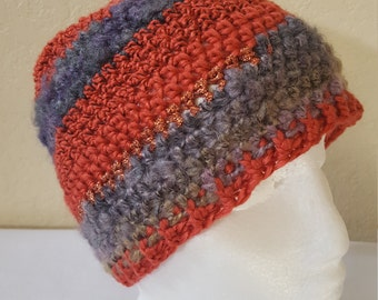 Crochet Striped Beanie /Hat/Cap/ Red Oranges And Purples With Copper Shimmer/ Adult/ Womens Crochet Skull Cap/ Handmade Winter Accessories